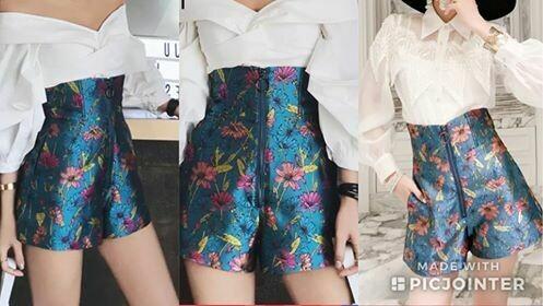 High waisted flower shorts