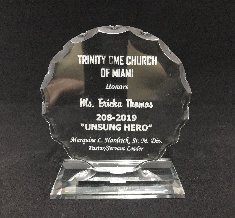 "Glass Round Award 6"" - FREE SHIPPING"