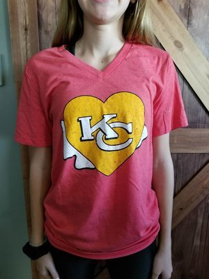 Bella Canvas Unisex V-Neck with Chiefs Heart Design