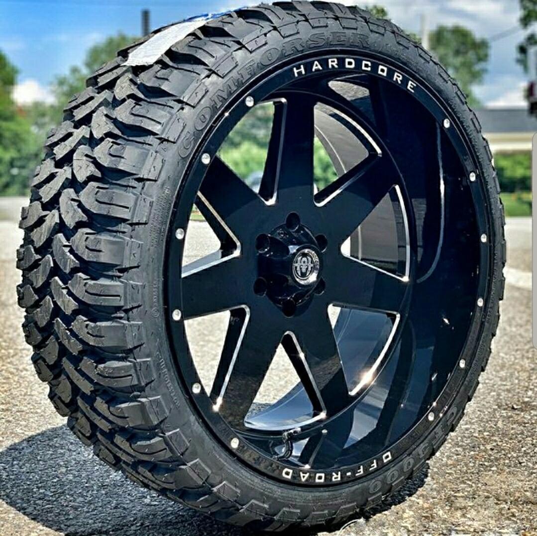 24 Inch 24x12 Hardcore Offroad Hc14 Black Milled Wheel Rim 6x5 5