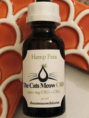 1250 mg Pet CBD + CBG Oil (85+ lbs*) - Unflavored