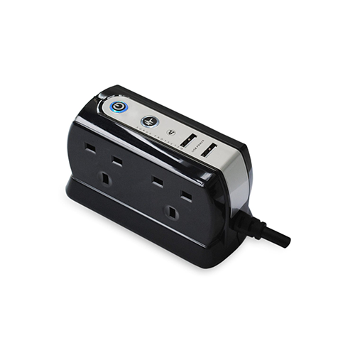 Masterplug 2M 4 Gang With Surge Protection With 2X USB         SRGDU42PB-MP