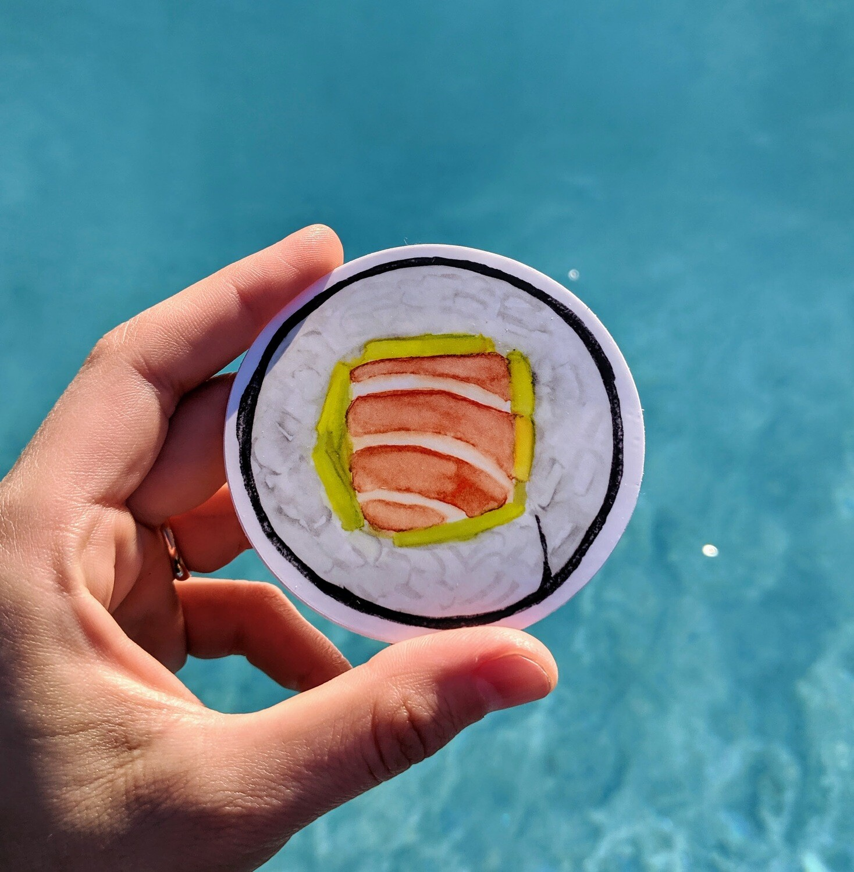 Avocado Salmon Sushi Roll - Durable Vinyl Sticker - Watercolor Illustration