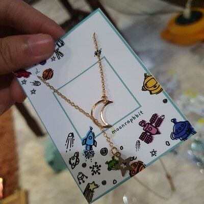 Necklace: Moon and Star