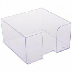 Подставка для бумажного блока 9*9*5см СТАММ пластик ПЛ61 прозрачная