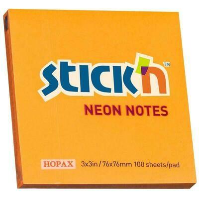 Блок-стикер 76*76 100л HOPAX 21391 пастель оранжевый