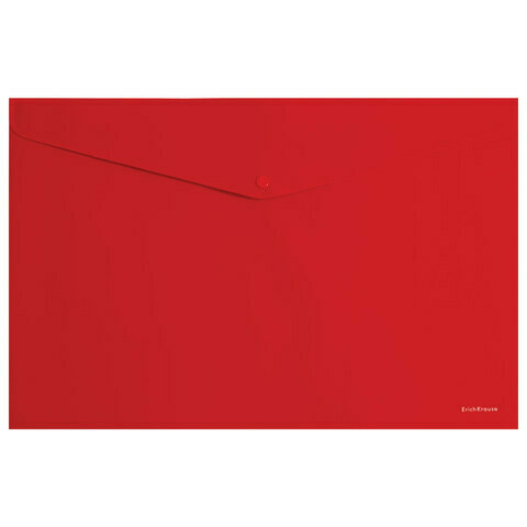 """Папка-конверт с кнопкой А4 180 мкм ERICH KRAUSE """"Classic"""" EK47108  красная"""