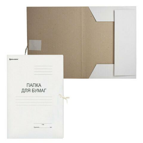 Папка с завязками BRAUBERG картон 280 г/м2 до 200 л 122292
