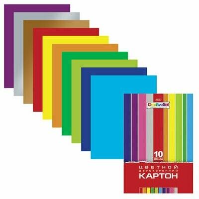Набор цветного картона А4 10л/10цв HATBER