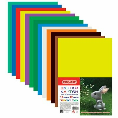 Набор цветного картона А4 12л ПИФАГОР 128011