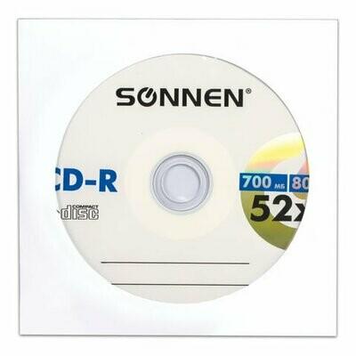 Диск CD-R SONNEN 700Mb 52x бумажный конверт 512573