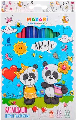 """Карандаши 18 цветов MAZARI Creative """"Melody"""" пластик M-6119-18"""