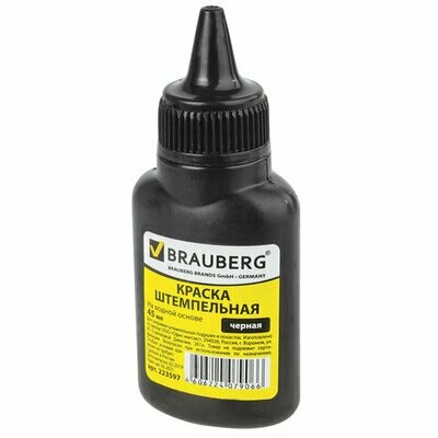Краска штемпельная 45мл BRAUBERG 223597 черная