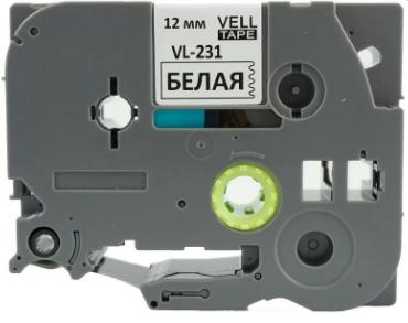Лента VELL VL-231 12мм (черный на белом) Vell231