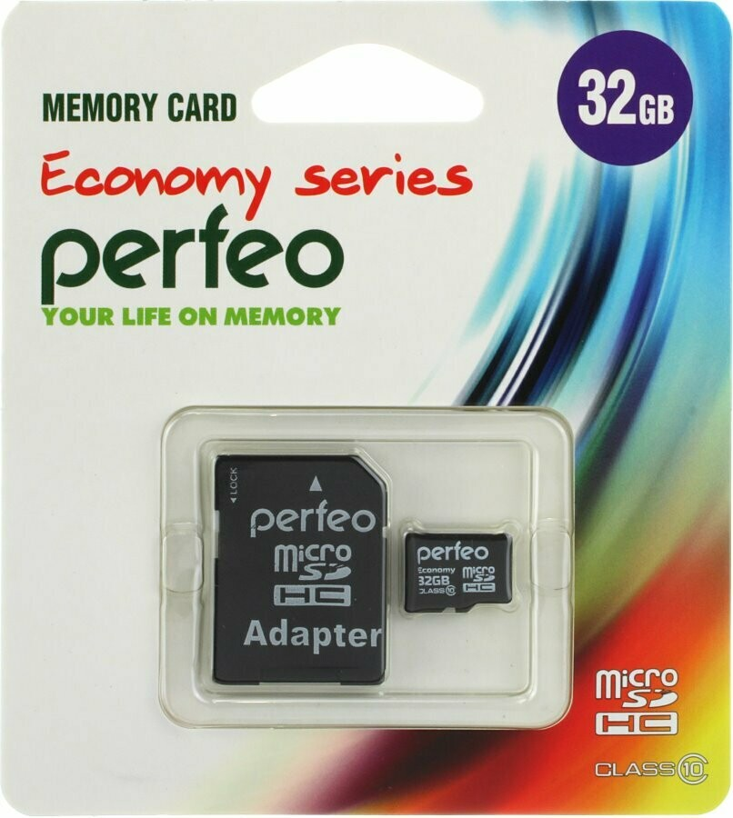 Флеш-накопитель Micro SD 32GB Perfeo с адаптером 10 Class