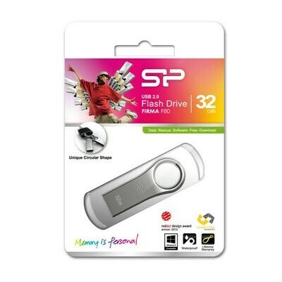 Флеш-накопитель 32Gb USB 2.0 Silicon Power Firma F80 (SP016GbUF2F80V1S) серебристый