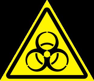 Наклейка Осторожно, биологическая опасность инфекционные вещества