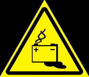 Наклейка Осторожно, аккумуляторные батареи