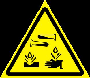 Наклейка Опасно, едкие и коррозионные вещества