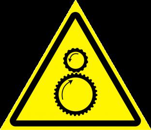 Наклейка Осторожно, возможно затягивание между вращающимися элементами