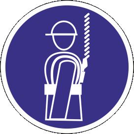 Наклейка Работать в предохранительном (защитном поясе)