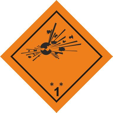 Наклейка Взрывчатые вещества и изделия
