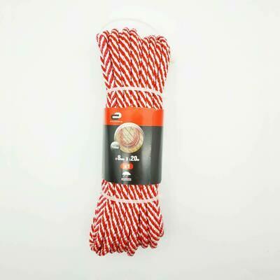 Веревка (Шнур) спирального плетения Standers 8 мм, 20 м, на 700 кг., полипропилен, цвет белый/красный