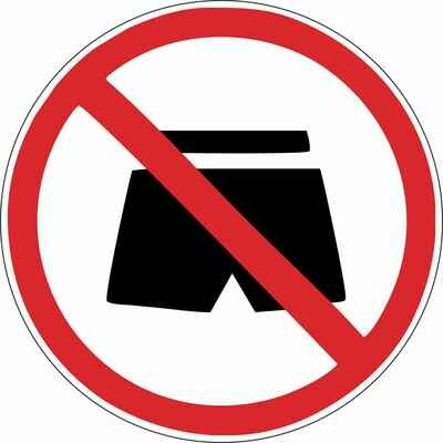 Наклейка Вход в шортах запрещен