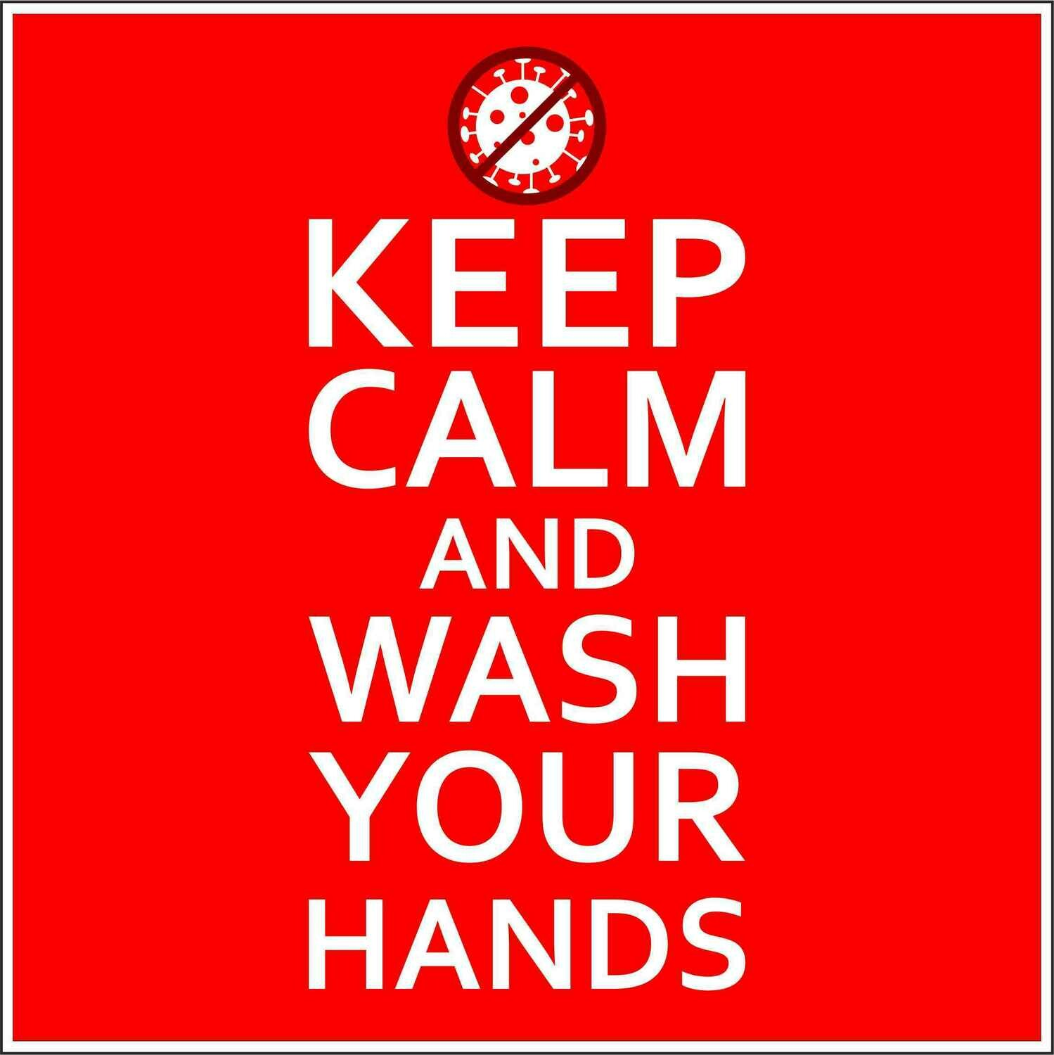 Наклейка Keep Calm Wash Hands