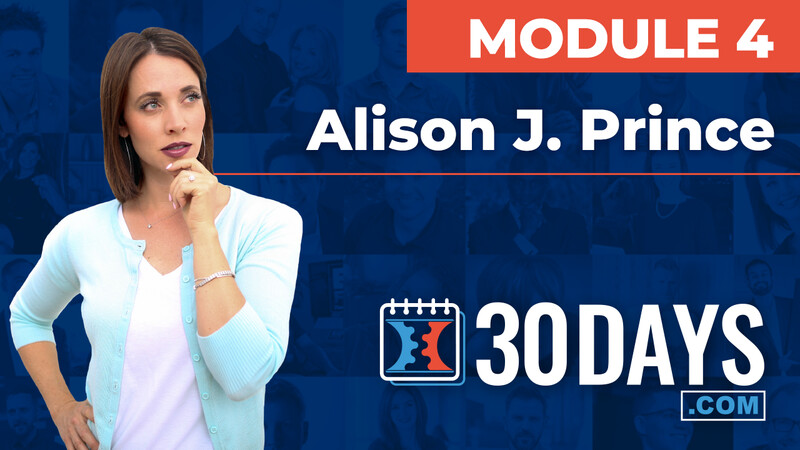 Courses 30 Days lessons Alison J Prince topic Summit Interview