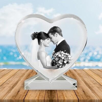 2D Heart Photo Crystal Gift