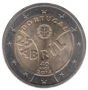 2 евро Португалия 2014 г.