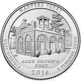 США 25 центов, 2016г. 33-й Национальный парк Харперс Ферри.