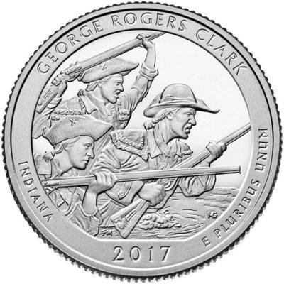 США 25 центов, 2017г. 40-й Национальный парк Джордж Роджерс Кларк
