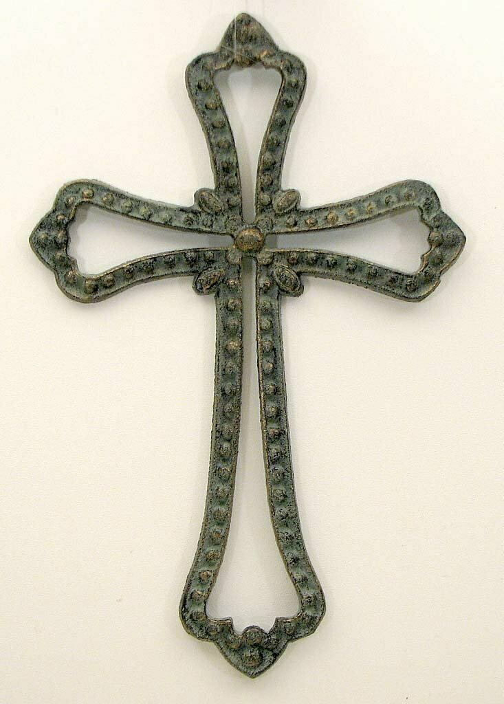 Cast Iron Open Cross in Verdigris