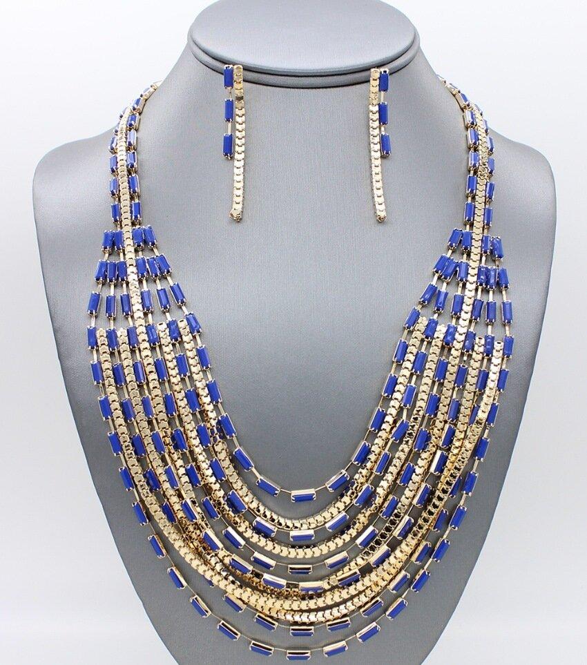 Layered Acrylic Stone Necklace Set