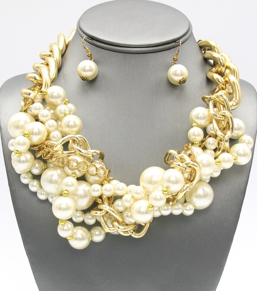 Statement Pearl Beaded Braided Necklace Set