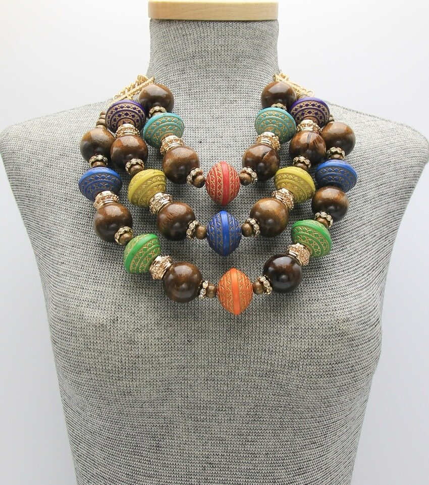 Wood Beaded Layered Necklace Set
