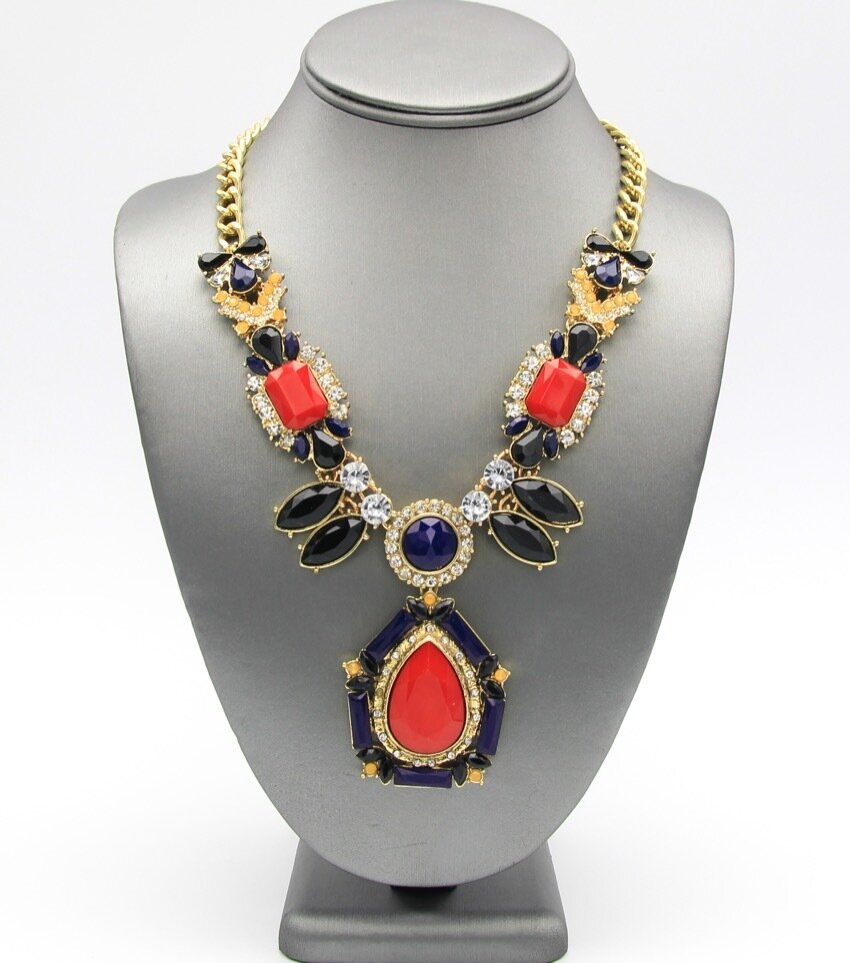 Resin Teardrop Stone Pendant Shourouk Crystal LinK Necklace