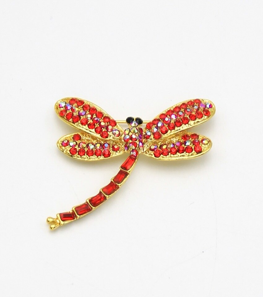 Crystal Pave Dragonfly Brooch
