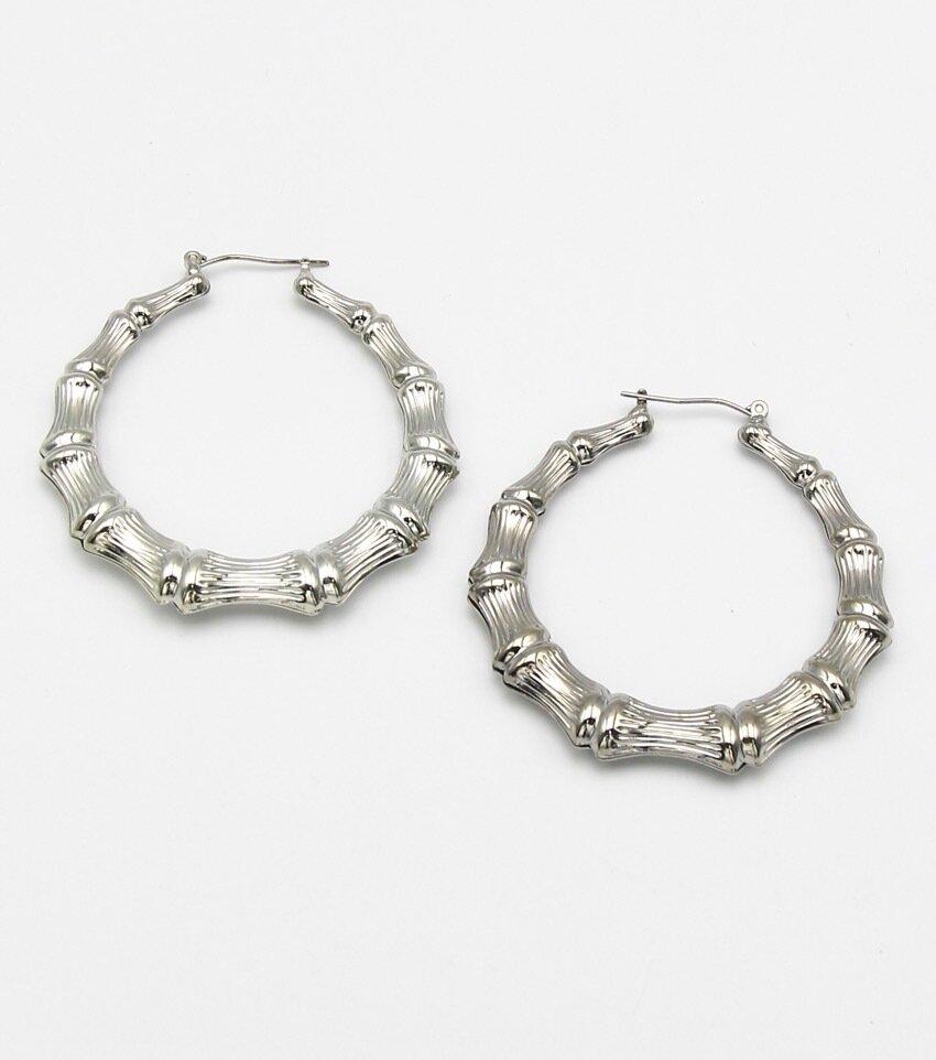 Bamboo Metal Hoop Earrings