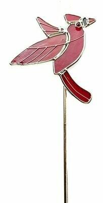 Cardinal Art Glass Garden Stake