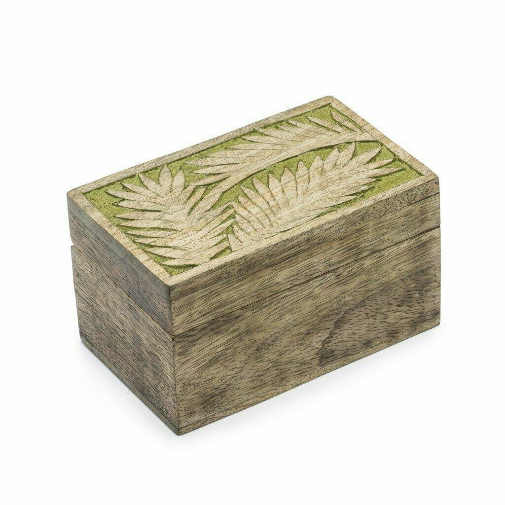 Holi Color Rub Wood Keepsake Box - Palm Leaf - Matr Boomie (B)