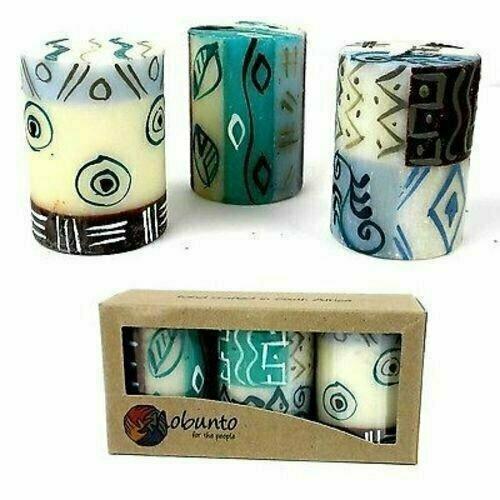 Set of Three Boxed Hand-Painted Candles - Maji Design - Nobunto