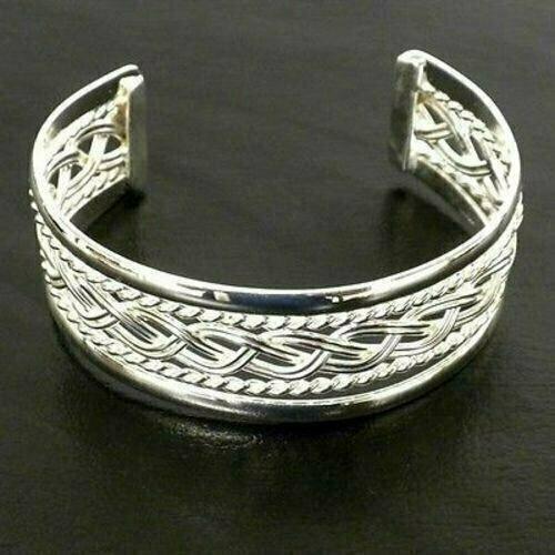 Silver Overlay Cuff Braided Design - Artisana