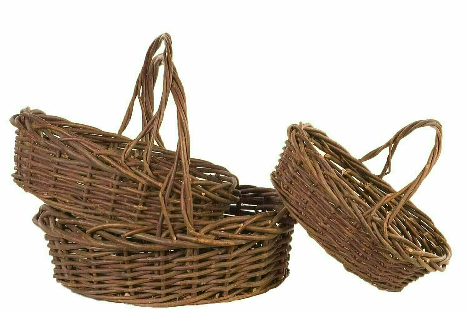 MS1102 - S/3 Large Oval Rustic Unpeeled Willow 14