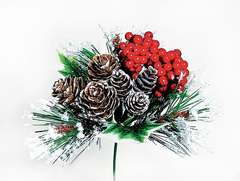 ​XP5538 - Berry cluster pine cone mix pick (sold by the dozen)