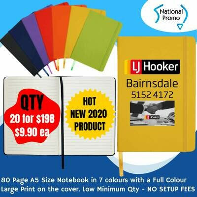 A5 80 Page NOTEBOOK in 7 Colours - QTY of 20