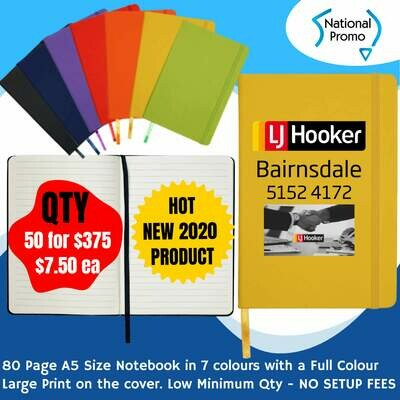 A5 80 Page NOTEBOOK in 7 Colours - QTY of 50