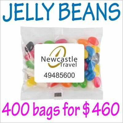 BRANDED 50gm JELLY BEANS PACKS. 400 bags for $460 - FREE DELIVERY